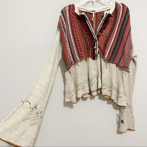 Free People Meadow Lakes Boho Knit Sweater Bell XS